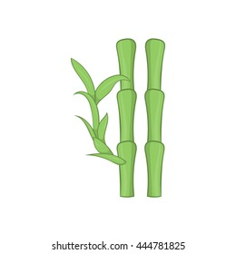 Green bamboo stems icon in cartoon style on a white background
