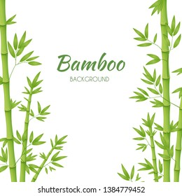 Green bamboo stems with green leaves on a white background. Vector illustration.