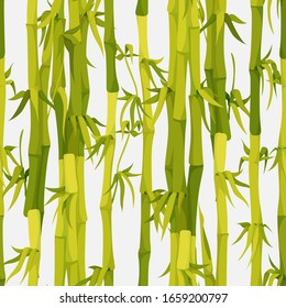Green bamboo stems seamless pattern vector background. Bamboo trees texture illustration. Asian nature rain forest theme. Textile art, wallpapers or backdrop