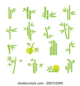 Green bamboo vector symbol icons set