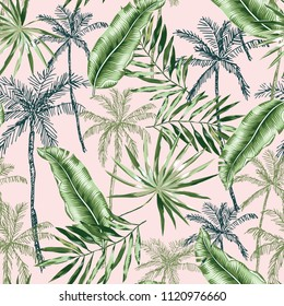 Green banana, palm trees, leaves with blush pink background. Vector seamless pattern. Tropical jungle foliage illustration. Exotic plants greenery. Summer beach floral design. Paradise nature graphic.