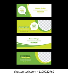 Green Banner Set. Abstract Poster. Facebook cover. Simple design. Banner  template.