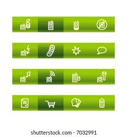 Green bar mobile phone icons. Vector file has layers, all icons in two versions are included.