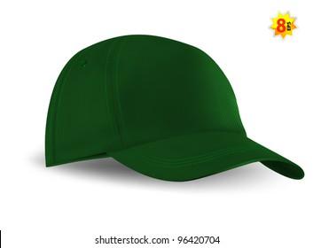 Green Baseball Cap template. Mesh & gradients only.