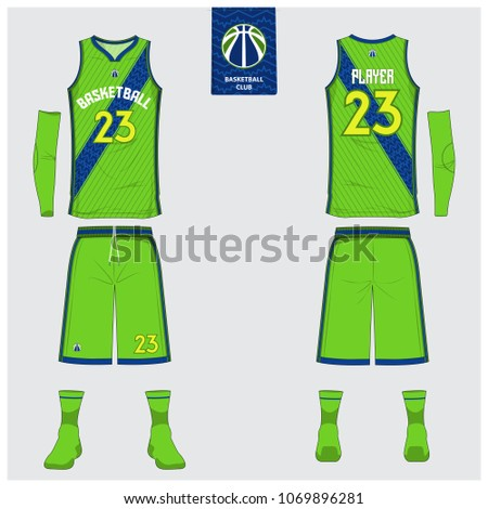 1c98466c95a Green Basketball jersey or sport uniform template design for basketball  club. Front and back view