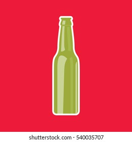 Green Beer Bottle vector illustration