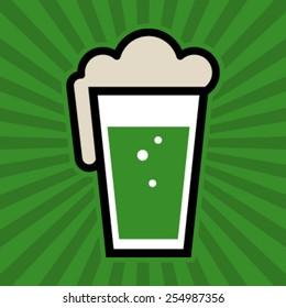 Green Beer Pint Glass Vector Icon