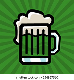 Green Beer Stein Vector Icon