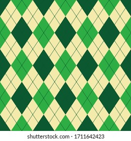 green and beige argyle seamless vector pattern