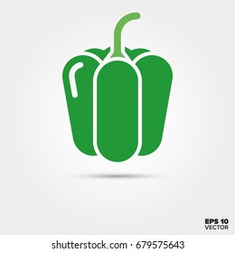 Green bell pepper vegetable two color vector icon