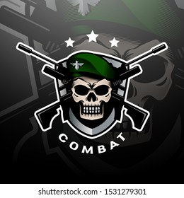 Green beret skull logo esport with shield and a couple of weapons