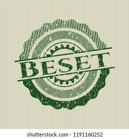 Green Beset distressed rubber stamp with grunge texture