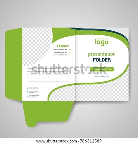 green bi fold presentation folder design stock vector royalty free