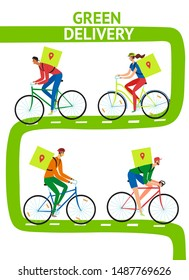 Green bicycle delivery poster. Men and woman riding on a bicycle with bacpack and delivering orders in safe for environment way. Hand drawn cartoon illustration for your design.