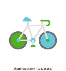 Green bicycle, Flat icon save environmental concept