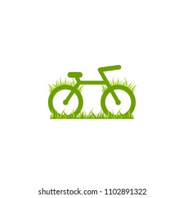Green bicycle with grass icon. Flat bike logo isolated on white. Vector illustration. Eco transport symbol. Healthy journey. Ecology. Go green. World car free day