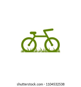 Green bicycle with grass icon. Flat bike logo isolated on white. Vector illustration. Eco transport symbol. Healthy journey. Ecology. Go green.