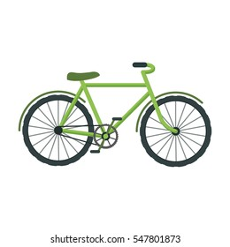 Green bicycle icon in cartoon style isolated on white background. Bio and ecology symbol stock vector illustration.