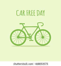 Green bike. World car free day. Ecology. Vector illustration.