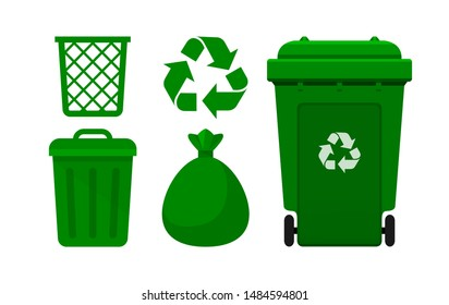 Green Bin Collection, Recycle Bin and Green Plastic Bags Waste isolated on white, Bins Green with Recycle Waste Symbol, Front view set of the Yellow Bins and Bag Plastic for Garbage waste, 3r Trash