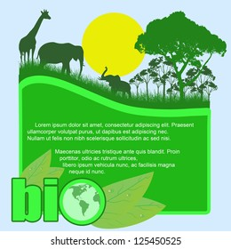 Green bio poster with trees and wild animals and space for your text, vector illustration