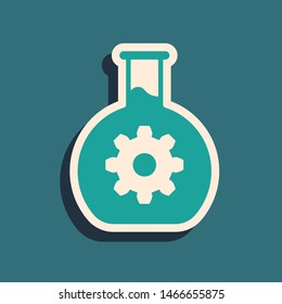 Green Bioengineering icon isolated on blue background. Element of genetics and bioengineering icon. Biology, molecule, chemical icon. Long shadow style. Vector Illustration