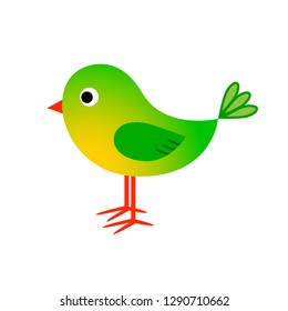 Green bird vector icon on white background