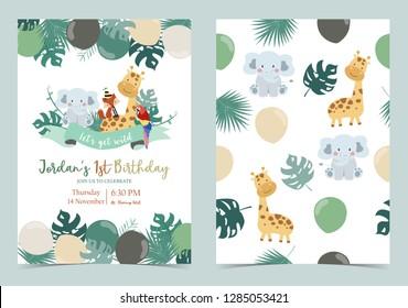 Green birthday card with elephant,fox,giraffe,parrot,ribbon and balloon