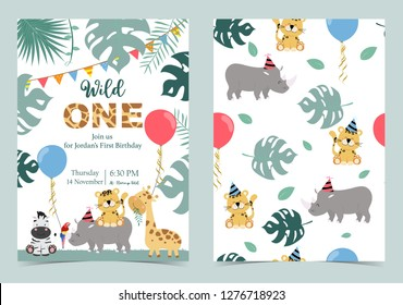 Green birthday card with rhino,tiger,zebra and balloon