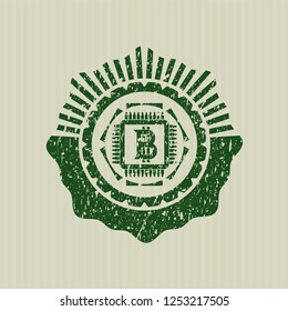 Green bitcoin chip (cryptocurrency mining concept) icon inside rubber stamp