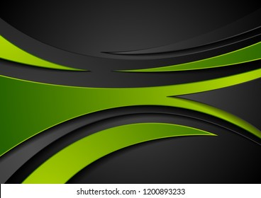 Green and black abstract wavy corporate digital background. Vector illustration
