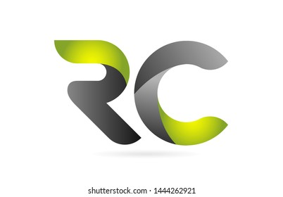 green black alphabet letter RC R C combination logo design suitable for a company or business