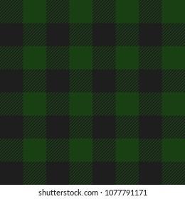 Green and Black Buffalo Check Plaid Seamless Pattern - Classic style green and black buffalo check flannel plaid seamless pattern
