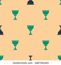 Green and black Christian chalice icon isolated seamless pattern on beige background. Christianity icon. Happy Easter.  Vector Illustration