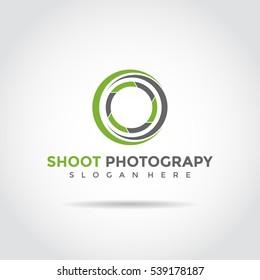 green and black circle photograpy shoot abstract logo template. vector illustrator eps.10