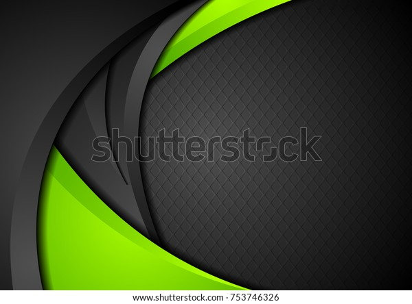 Green and black contrast corporate waves background. Vector design