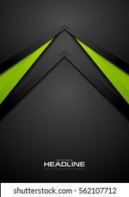 Green and black contrast tech arrows background. Vector corporate design