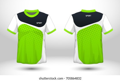 b24bdea9b Green and black layout football sport t-shirt design. Template front, back  view