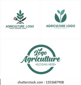 Green black line art knife fork leaf circle  combination mark logo design concept suitable for agriculture market company organic food local