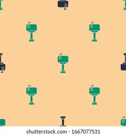Green and black Mail box icon isolated seamless pattern on beige background. Mailbox icon. Mail postbox on pole with flag.  Vector Illustration