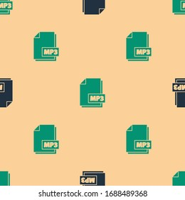 Green and black MP3 file document. Download mp3 button icon isolated seamless pattern on beige background. Mp3 music format sign. MP3 file symbol.  Vector Illustration