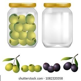 Green and Black Olives in Jar illustration