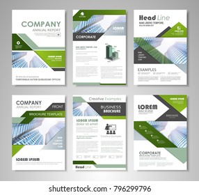 Green and black presentation template for business annual report, corporate marketing, creative flyer and leaflet, advertising, brochure, banner, slideshow, booklet, background.