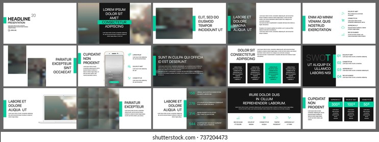 Green and black presentation templates elements on a white background. Vector infographics. Use in Presentation, flyer and leaflet, corporate report, marketing, advertising, annual report, banner.