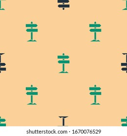Green and black Road traffic sign. Signpost icon isolated seamless pattern on beige background. Pointer symbol. Street information sign. Direction sign.  Vector Illustration