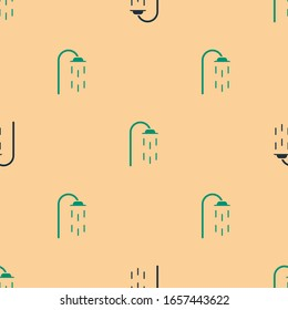 Green and black Shower head with water drops flowing icon isolated seamless pattern on beige background.  Vector Illustration