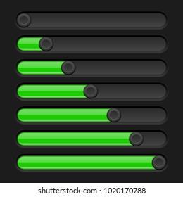 Green and black slider bars. Settings on control panel. Vector 3d illustration