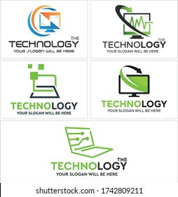 Green black symbol computer screen swash arrow heartbeat pixel and circuit tech icon logo design vector modern suitable for technology digital computer business provider company web software internet
