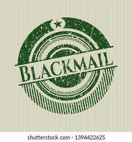 Green Blackmail distressed grunge style stamp