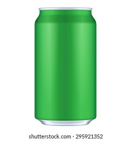 Green Blank Metal Aluminum Beverage Drink Can. Illustration Isolated. Mock Up Template Ready For Your Design. Vector EPS10